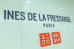 A signboard of Uniqlo x Ines de La Fressange AW17 collection on display at Uniqlo store in Ginza on September 5, 2017, Tokyo, Japan. Japanese casual clothing chain Uniqlo and French fashion icon Ines de la Fressange are collaborating with a Fall/Winter 2017 collection which is being sold in selected Uniqlo stores from September 1st. (Photo by Rodrigo Reyes Marin/AFLO)