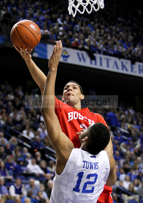 Boston University guard Eric Fanning lays the ball in during the first half of the UK men's basketball game vs. Boston University Rupp Arena in Lexington , Ky., on Friday, November 21, 2014. Photo by Jonathan Krueger   Staff