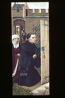 Paintings:  Robert Campin --Merode Altarpiece, Donors (L. Wing) , c. 1425. Panel.  Flemish Master.  Met. Museum of Art, Cloisters.
