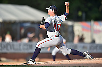 Rome Braves starting pitcher Caleb Beech (40) delivers a pitch during a game against the Asheville Tourists on June 9, 2015 in Asheville, North Carolina. The Tourists defeated the Braves 8-5. (Tony Farlow/Four Seam Images)