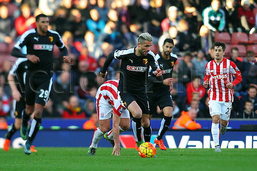 24.10.2015. Britannia Stadium, Stoke, England. Barclays Premier League. Stoke versus Watford. Valon Behrami of Watford runs with the ball