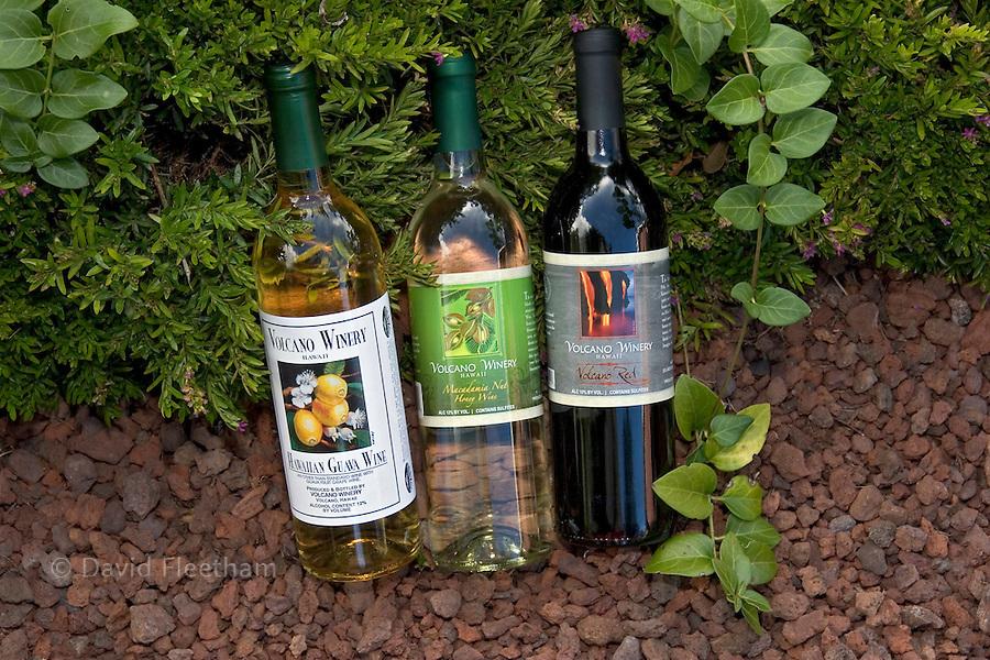 Hawaiian guava, macadamia nut honey and Volcano red wine from the Volcano Winery on the Big Island,  Hawaii.