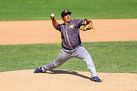 Quad Cities River Bandits pitcher Abdiel Saldana (13) delivers a pitch during a Midwest League game against the Beloit Snappers on June 18, 2017 at Pohlman Field in Beloit, Wisconsin.  Quad Cities defeated Beloit 5-3. (Brad Krause/Four Seam Images)