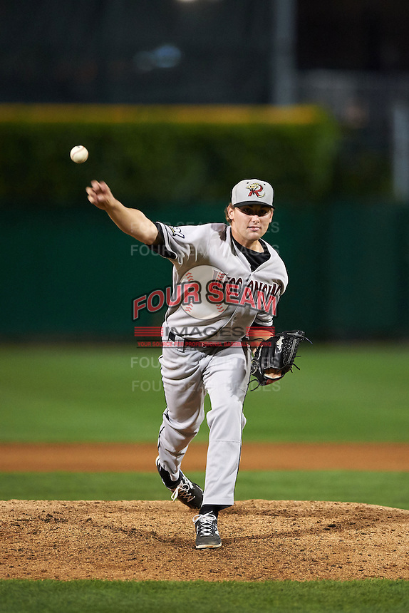 Wisconsin Timber Rattlers pitcher David Burkhalter (24) delivers a pitch during a game against the Peoria Chiefs on August 21, 2015 at Dozer Park in Peoria, Illinois.  Wisconsin defeated Peoria 2-1.  (Mike Janes/Four Seam Images)