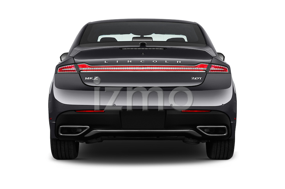 Straight rear view of 2017 Lincoln MKZ Reserve 4 Door Sedan Rear View  stock images
