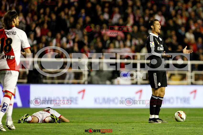 Cristiano Ronaldo of Real Madrid during La Liga match between Rayo Vallecano and Real Madrid at Vallecas Stadium in Madrid, Spain. April 08, 2015. (ALTERPHOTOS/Caro Marin) /NORTEphoto.com