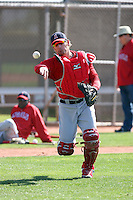 Jeff Mathis #5 of the Los Angeles Angels participates in catchers fielding drills during spring training workouts at the Angels complex on February 22, 2011  in Tempe, Arizona. .Photo by:  Bill Mitchell/Four Seam Images.