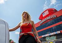 Jun 18, 2017; Bristol, TN, USA; NHRA funny car driver Courtney Force during the Thunder Valley Nationals at Bristol Dragway. Mandatory Credit: Mark J. Rebilas-USA TODAY Sports