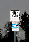The city of Everett is working to combat the area's opioid crisis through innovative policing efforts and a greater emphasis on rehabilitation and intervention. A Drug Free Zone is shown near Howarth Park in Everett. Photo by Daniel Berman