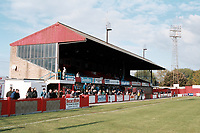 The main stand at Cheltenham Town FC Football Ground, Whaddon Road, Cheltenham, Gloucestershire, pictured on 23rd October 1993