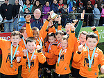 Ardee Celtic celebrate after winning the under 9 cup at the Drogheda and District schoolboys cup finals in Hunky Dorys park. Photo: Colin Bell/pressphotos.ie