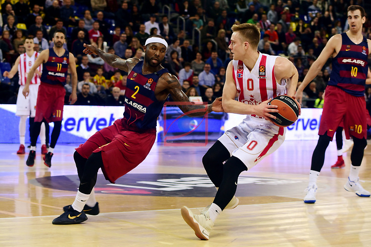Turkish Airlines Euroleague 2016/2017.<br /> Regular Season - Round 28.<br /> FC Barcelona Lassa vs Crvena Zvezda MTS Belgrade: 67-54.<br /> Tyrese Rice vs Nate Wolters.