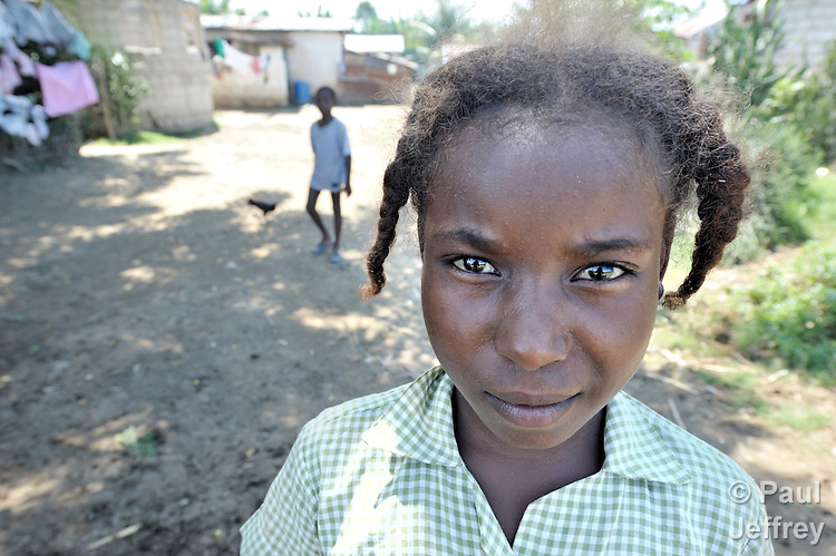 A girl in the Haitian village of Vaudreuil.