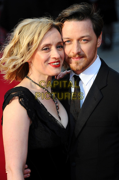 Anne Marie Duff & James McAvoy.The Olivier Awards 2012, Royal Opera House, Covent Garden, London, England..April 15th, 2012.half length married husband wife black white suit dress necklace facial hair beard.CAP/CJ.©Chris Joseph/Capital Pictures.
