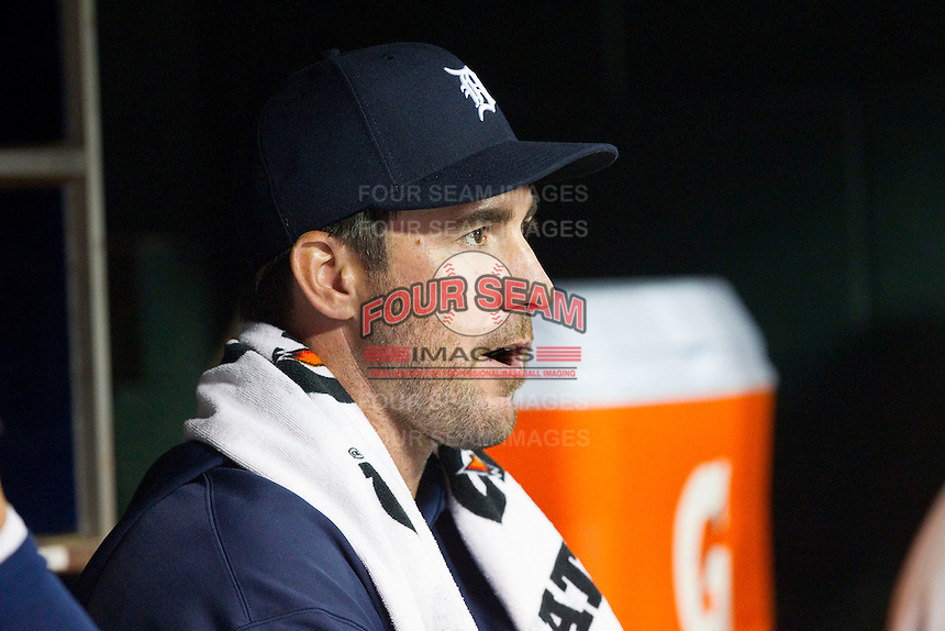 Detroit Tigers pitcher Justin Verlander (35) chews on sunflower seeds as he watches the game against the Tampa Bay Rays at Comerica Park on June 4, 2013 in Detroit, Michigan.  The Tigers defeated the Rays 10-1.  Brian Westerholt/Four Seam Images