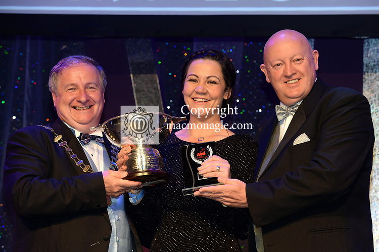 Georgie O'Toole, Tullamore Musical Society,, County Offaly  winner of the Best Chorus' / Gilbert Section for the production of 'Sweeney Todd'' receiving the trophy from on  left, Colm Moules, President, AIMS and Seamus Power, Vice-President at the Association of Irish Musical Societies annual awards in the INEC, KIllarney at the weekend.<br /> Photo: Don MacMonagle -macmonagle.com<br /> <br /> <br /> <br /> repro free photo from AIMS<br /> Further Information:<br /> Kate Furlong AIMS PRO kate.furlong84@gmail.com