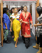 Last minute preparations for a multi-cultural charity Fashion Show put on by students reflecting the wide cultural diversity of the student base at Kingston College.