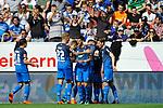 Torjubel nach dem 1:0 von Hoffenheims Serge Gnabry (Nr.29)  beim Spiel in der Fussball Bundesliga, TSG 1899 Hoffenheim - Hamburger SV.<br /> <br /> Foto &copy; PIX-Sportfotos *** Foto ist honorarpflichtig! *** Auf Anfrage in hoeherer Qualitaet/Aufloesung. Belegexemplar erbeten. Veroeffentlichung ausschliesslich fuer journalistisch-publizistische Zwecke. For editorial use only.