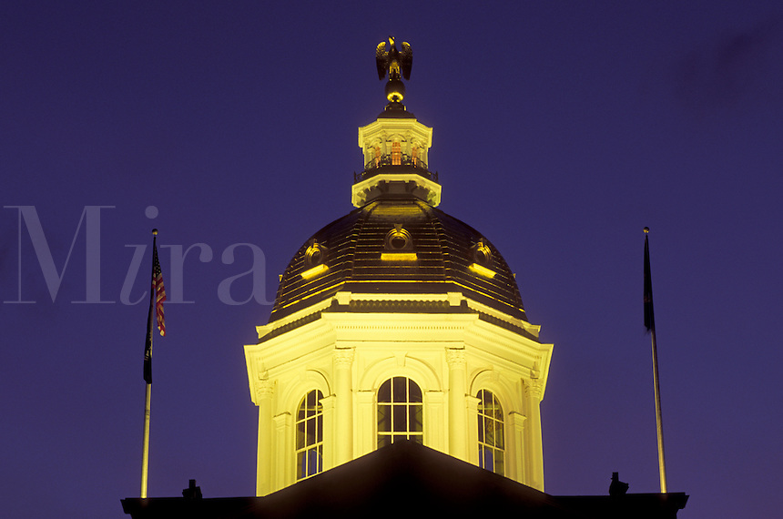 State House, dome, Concord, State Capitol, NH, New Hampshire, The dome of The New Hampshire State House in the capital city of Concord illuminated at night.