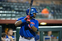 AZL Cubs third baseman Delvin Zinn (21) waits on deck during a game against the AZL Giants on September 7, 2017 at Scottsdale Stadium in Scottsdale, Arizona. AZL Cubs defeated the AZL Giants 13-3 to win the Arizona League Championship Series two games to one. (Zachary Lucy/Four Seam Images)