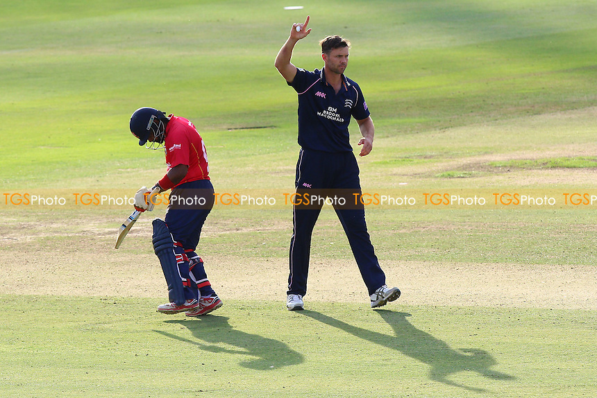 James Franklin of Middlesex celebrates taking the wicket of Ashar Zaidi during Middlesex vs Essex Eagles, Royal London One-Day Cup Cricket at Lord's Cricket Ground on 31st July 2016