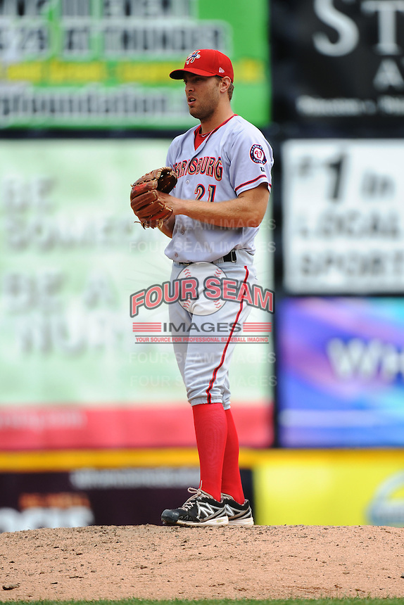 Harrisburg Senators pitcher Matt Grace (21) during game against the Trenton Thunder at ARM & HAMMER Park on July 31, 2013 in Trenton, NJ.  Harrisburg defeated Trenton 5-3.  (Tomasso DeRosa/Four Seam Images)