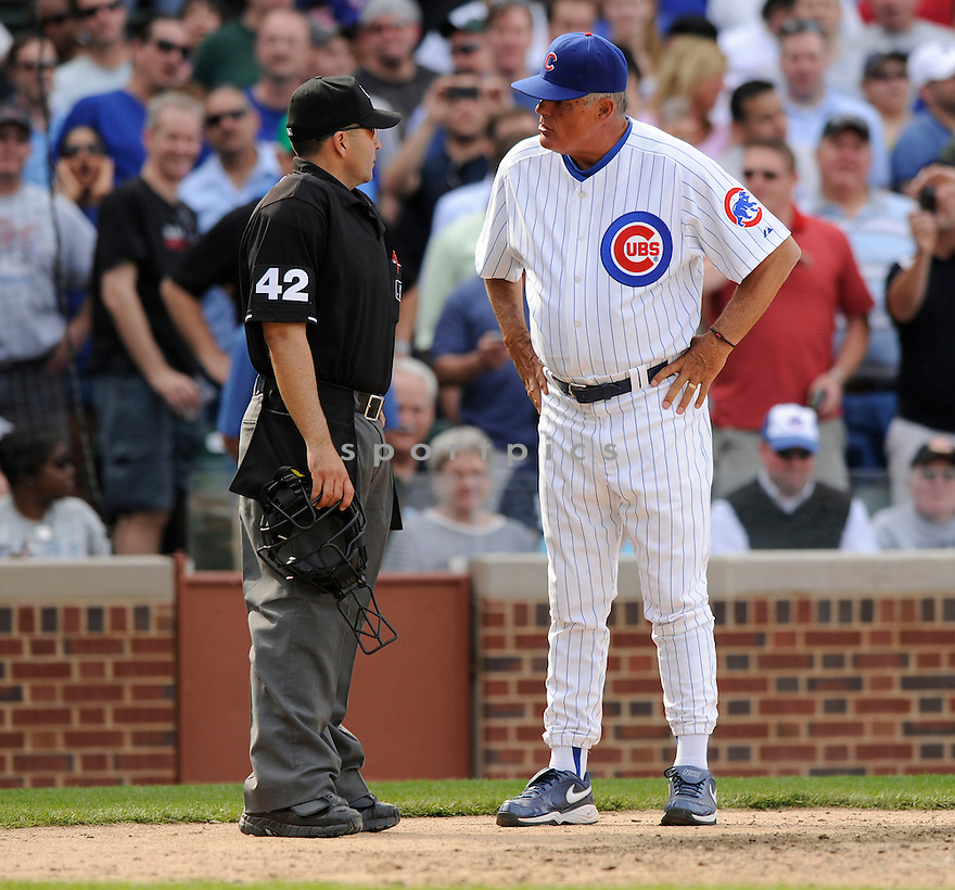 LOU PINIELLA, of the Chicago Cubs, in action during the Cubs game against the Milwaukee Brewers at Wrigley Field in Chicago, Illinois  on April 15, 2010...The Brewer win 8-6