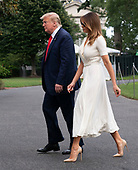United States President Donald J. Trump and first lady Melania Trump return to the White House in Washington, DC after spending a weekend at their residence in Bedminster, New  Jersey on Sunday, July 7, 2019.<br /> Credit: Chris Kleponis / Pool via CNP
