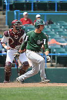 University of South Florida Bulls infielder Lawrence Pardo (42) at bat in front of catcher Andrew Nist (26) during a game against the Temple University Owls at Campbell's Field on April 13, 2014 in Camden, New Jersey. USF defeated Temple 6-3.  (Tomasso DeRosa/ Four Seam Images)