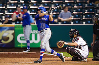 Jake Marasco (24) of the Kansas Jayhawks follows through his swing during a game against the Missouri State Bears at Hammons Field on March 27, 2012 in Springfield, Missouri. (David Welker/Four Seam Images)