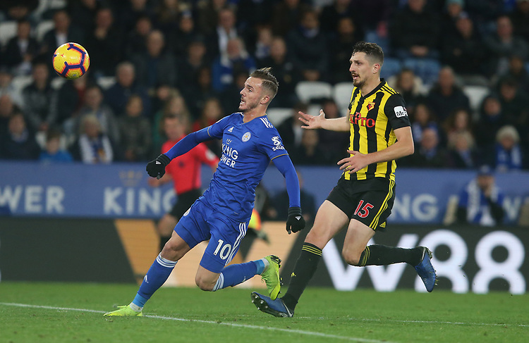 Leicester City's James Maddison and Watford's Craig Cathcart <br /> <br /> Photographer Stephen White/CameraSport<br /> <br /> The Premier League - Leicester City v Watford - Saturday 1st December 2018 - King Power Stadium - Leicester<br /> <br /> World Copyright © 2018 CameraSport. All rights reserved. 43 Linden Ave. Countesthorpe. Leicester. England. LE8 5PG - Tel: +44 (0) 116 277 4147 - admin@camerasport.com - www.camerasport.com