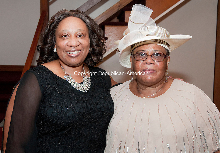 WATERBURY, CT-092814JS11- Event co-organizers Dawnette Otuegbe and her mother Desma Whynes  at the 27th anniversary celebration for Rev. W. James Johnson at the Zion Baptist Church in Waterbury. <br /> Jim Shannon Republican-American