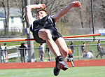 WATERTOWN CT. 16 April 2019-041619SV15-Nathaniel Smith of Woodland competes on the high jump during a track meet at Watertown High in Watertown Tuesday. Watertown hosted Woodland and Torrington in NVL boys and girls track.<br /> Steven Valenti Republican-American