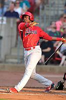 Peoria Chiefs third baseman Elehuris Montero (39) swings at a pitch against the Cedar Rapids Kernels at Veterans Memorial Stadium on June 16, 2018 in Cedar Rapids, Iowa. The Kernels won 12-4.  (Dennis Hubbard/Four Seam Images)