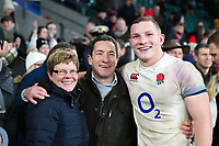 Sam Underhill of England poses for a photo with his family after the match. Natwest 6 Nations match between England and Wales on February 10, 2018 at Twickenham Stadium in London, England. Photo by: Patrick Khachfe / Onside Images