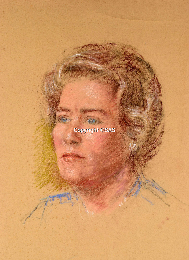 BNPS.co.uk (01202 558833)<br /> Pic: SAS/BNPS<br /> <br /> Preparatory painting of Churchill's daughter Mary Soames.<br /> <br /> An amazing 30 year old time capsule of Royal artworks have been found gathering dust in a dilapidated estate near Tonbridge in Kent.<br /> <br /> They form part of a remarkable collection of 400 works by the almost forgotten painter Bernard Hailstone, that have been locked away in his abandoned studio at Hadlow Tower since his death in 1987.<br /> <br /> Amongst the famous figures who sat for Mr Hailstone, who died in 1987, were the Queen, the Queen Mother, Prince Charles, Winston Churchill, former US president Jimmy Carter and actor Laurence Olivier.<br /> <br /> While sitting for her portrait at Buckingham Palace, The Queen asked him to adjust the aerial so she could watch the horse racing on the TV.<br /> <br /> The then US president Jimmy Carter was sketched by Mr Hailstone during a flight from London to New York, while Mr Hailstone and Winston Churchill discussed aliens during their sitting at Chartwell.