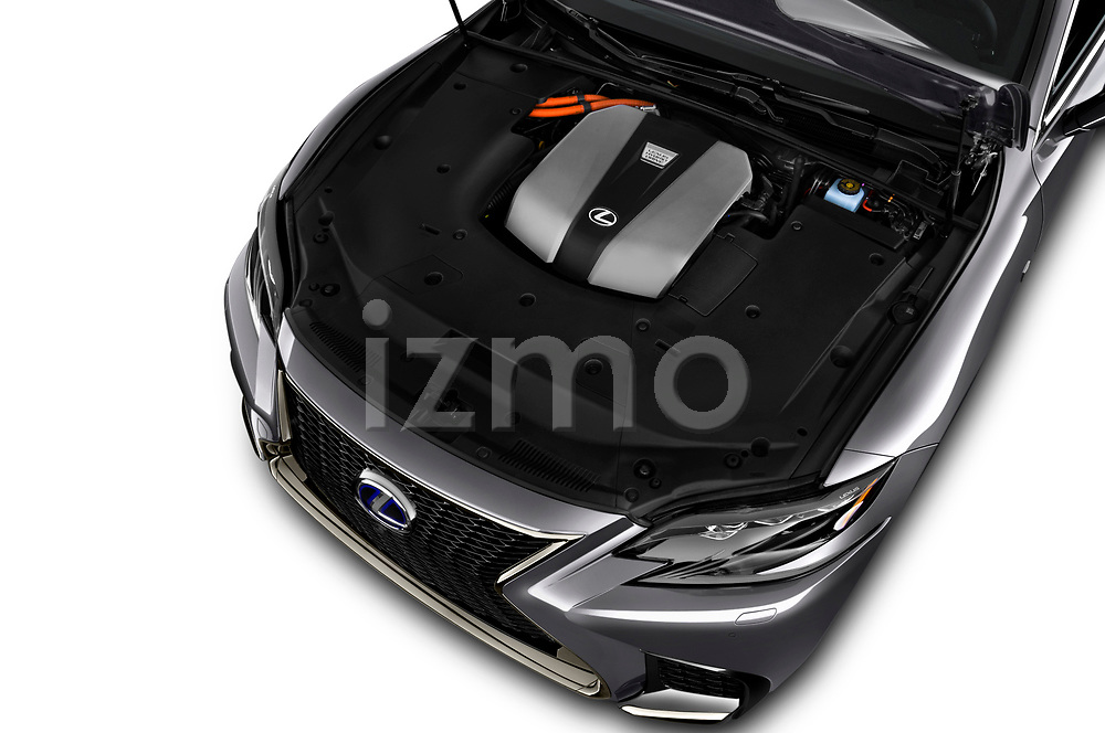 2018 Lexus LS F Sport 4 Door Sedan engine high angle detail view