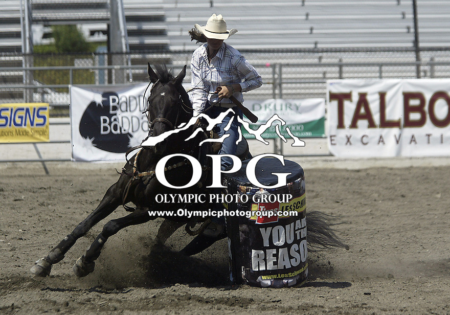 29 June 2008:  Morgan Stumpf from Enumclaw, Washington scored a 33.49 during competition in the Barrel racing at the ThunderBird Pro Rodeo in Bremerton, Washington.