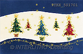 Isabella, CHRISTMAS SYMBOLS, corporate, paintings, 5 Christmas trees, blue(ITKE501701,#XX#) Symbole, Weihnachten, Geschäft, símbolos, Navidad, corporativos, illustrations, pinturas