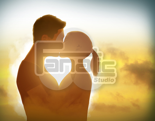 Illustration of couple kissing at sunset
