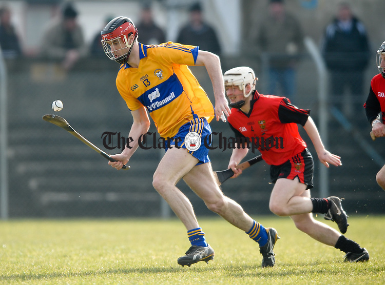 Clare's Darach Honan during their Division 2 National League game at Cusack park. Photograph  by John Kelly.