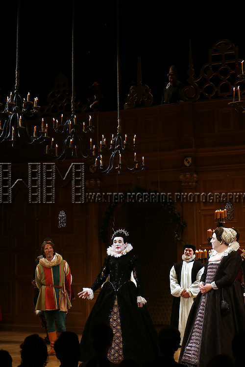 Mark Rylance with the cast during the Broadway Opening Night Performance Curtain Call for 'Twelfth Night' at the Belasco Theatre on November 10, 2013 in New York City.