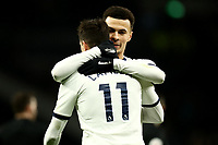 14th January 2020; Tottenham Hotspur Stadium, London, England; English FA Cup Football, Tottenham Hotspur versus Middlesbrough; Dele Alli of Tottenham Hotspur celebrates the 2-1 win with Erik Lamela - Strictly Editorial Use Only. No use with unauthorized audio, video, data, fixture lists, club/league logos or 'live' services. Online in-match use limited to 120 images, no video emulation. No use in betting, games or single club/league/player publications