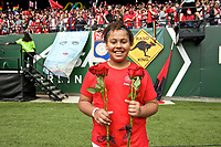 Portland, OR - Saturday April 29, 2017: Girls Inc Girl of the Game after a regular season National Women's Soccer League (NWSL) match between the Portland Thorns FC and the Chicago Red Stars at Providence Park.