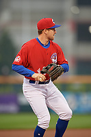 Buffalo Bisons third baseman Patrick Kivlehan (14) warmup throw to first base during an International League game against the Scranton/Wilkes-Barre RailRiders on June 5, 2019 at Sahlen Field in Buffalo, New York.  Scranton defeated Buffalo 4-0, the second game of a doubleheader. (Mike Janes/Four Seam Images)