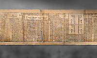 Ancient Egyptian Book of the Dead papyrus - Spell 126 - what to say in the judgement before Osiris, Iufankh's Book of the Dead, Ptolemaic period (332-30BC).Turin Egyptian Museum. Grey background<br /> <br /> Spell 125 instruct the deceased as to waht to say infront of Osiris and the Forty Two Judges in the Hall of Two Maat, the netherworlds Judgement Hall. <br /> <br /> The translation of  Iuefankh's Book of the Dead papyrus by Richard Lepsius marked a truning point in the studies of ancient Egyptian funereal studies.
