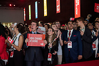 The audience awaits the entrance of the 23rd Prime Minister of Canada, the Right Honorable Justin Trudeau prior to his Keynote Address during the final day of the Liberal Biennial Convention at the RBC Convention Centre Saturday May 28, 2016 in Winnipeg.<br /> (David Lipnowski / Agence Qu&eacute;bec Presse)