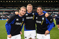 Max Clark, Jack Walker and Anthony Perenise of Bath Rugby pose for a photo after the match. Gallagher Premiership match, between Leicester Tigers and Bath Rugby on May 18, 2019 at Welford Road in Leicester, England. Photo by: Patrick Khachfe / Onside Images