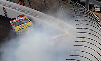 Feb. 28, 2009; Las Vegas, NV, USA; NASCAR Nationwide Series driver Michael Annett crashes during the Sam's Town 300 at Las Vegas Motor Speedway. Mandatory Credit: Mark J. Rebilas-