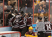 The Dutchmen celebrate a goal. - The Union College Dutchmen defeated the University of Minnesota Golden Gophers 7-4 to win the 2014 NCAA D1 men's national championship on Saturday, April 12, 2014, at the Wells Fargo Center in Philadelphia, Pennsylvania.